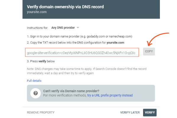 add website to google search console